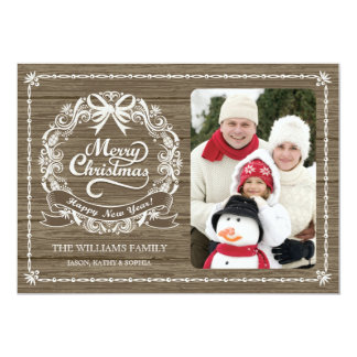 Rustic Wood Grain Christmas Wreath Photo Card
