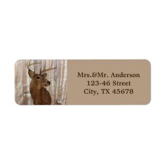 rustic wood grain deer the hunt is over wedding return address label