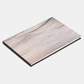 Rustic Wood Grain Design Guestbook