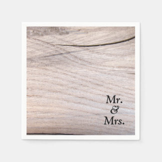 Rustic Wood Grain Design Mr. & Mrs. Paper Napkin
