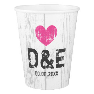 Rustic wood grain lines wedding party paper cups paper cup