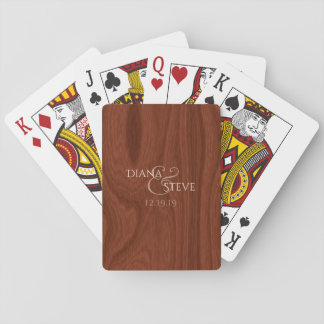 Rustic Wood Grain Monogrammed Wedding Favors Playing Cards