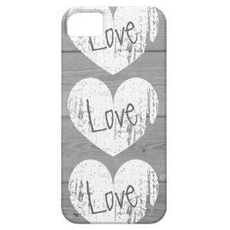 Rustic wood grain Phone case | faded love monogram