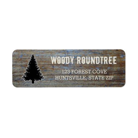 Rustic Wood Grain   Pine Tree Evergreen Silhouette Return Address Label