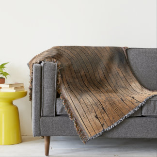 Rustic wood grain throw blanket