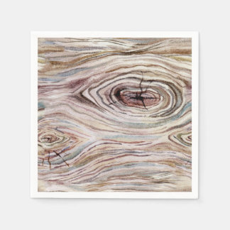 Rustic Wood Grain Watercolor Country Wedding Party Disposable Napkin