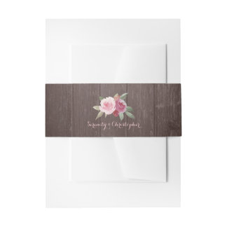 Rustic wood grain watercolor floral wedding invitation belly band
