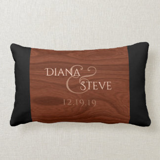 Rustic Wood Grain Wedding Monogram Keepsake Lumbar Lumbar Pillow