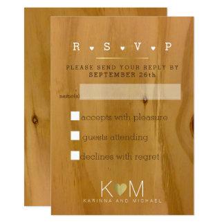 rustic wood grains wedding-party rsvp card