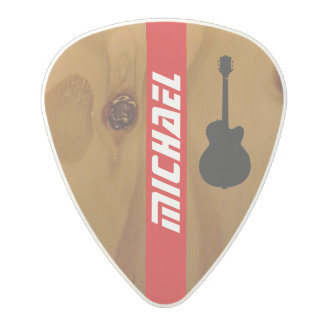 rustic wood guitar picks with red stripe