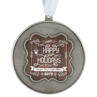 Rustic Wood Happy Holidays Christmas Typography Ornament