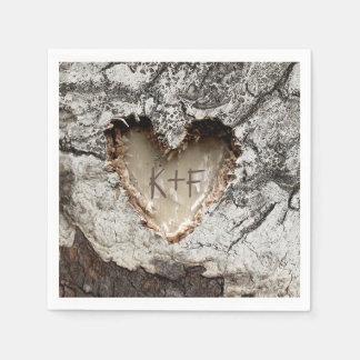 Rustic Wood Heart Birch Bark Wedding Disposable Napkins