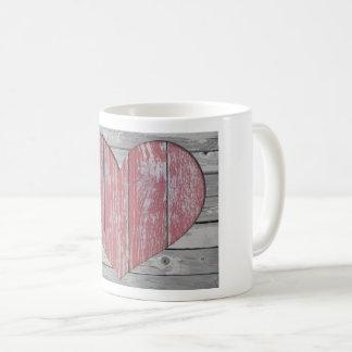 Rustic Wood Heart Coffee Mug