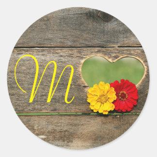 Rustic Wood Heart Flowers Monogram Stickers