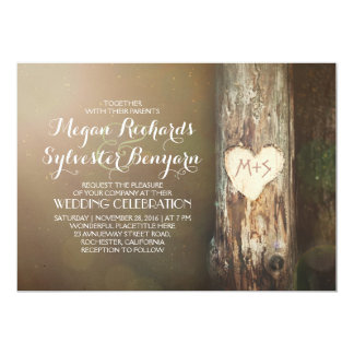 rustic wood heart tree country wedding invitation