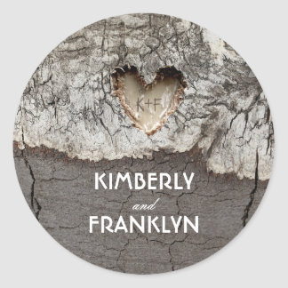 Rustic Wood Heart Tree Wedding Classic Round Sticker