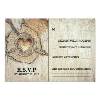 "Rustic Wood Heart Tree Wedding RSVP Cards 3.5"" X 5"" Invitation Card"