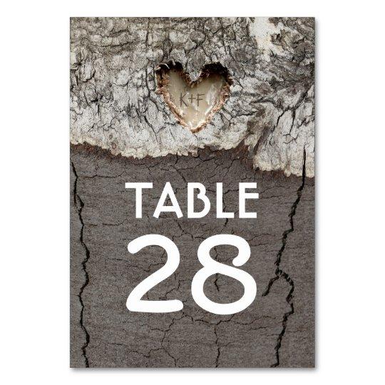 Rustic Wood Heart Tree Wedding Table Numbers