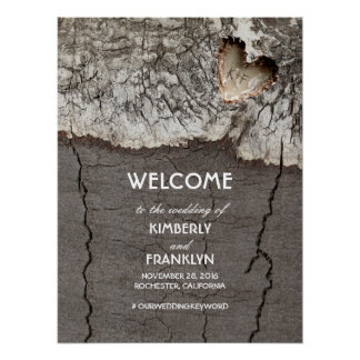 Rustic Wood Heart Wedding Welcome Sign Poster