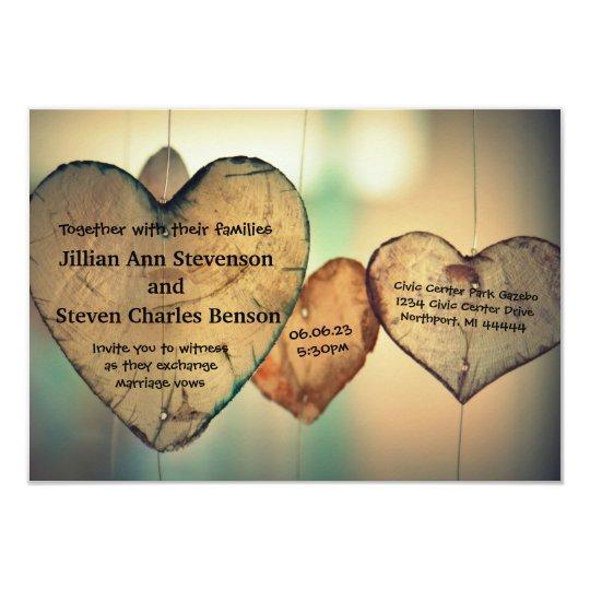 Rustic Wood  Hearts - 3x5 Wedding Invitation