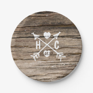 Rustic Wood Hearts & Arrows Country Wedding Plates 7 Inch Paper Plate