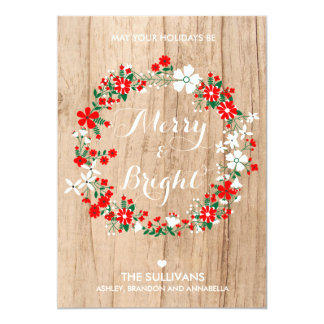 Rustic Wood Holiday Floral Wreath Christmas Card