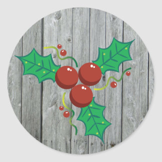 Rustic Wood Holly Berries Christmas Holiday Classic Round Sticker