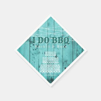 Rustic Wood I Do BBQ Couples Shower Wedding Cake Napkin