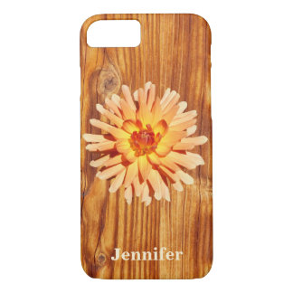 Rustic Wood Image with a Dahlia Flower Photo Name iPhone 8/7 Case