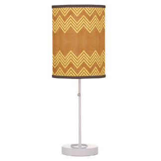 Rustic Wood Inlay Chevron Pattern Table Lamps