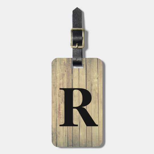 Rustic Wood Inspired Pattern with Initial Luggage Tag