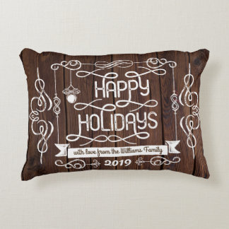 Rustic Wood Instagram Photos Christmas Typography Decorative Pillow