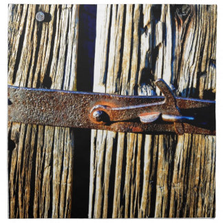 Rustic Wood & Iron Metal Latch Napkins