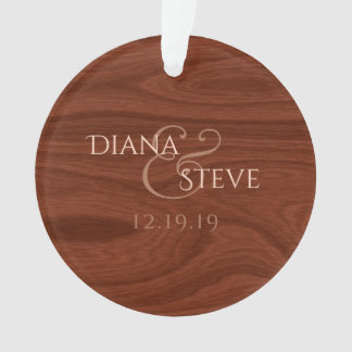 Rustic Wood Keepsake Country Wedding Monogrammed Ornament