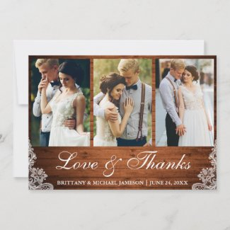 Rustic Wood Lace 3 Photo Love and Thanks Thank You Card