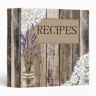 Rustic Wood Lace and Lavender Recipe Book 3 Ring Binder
