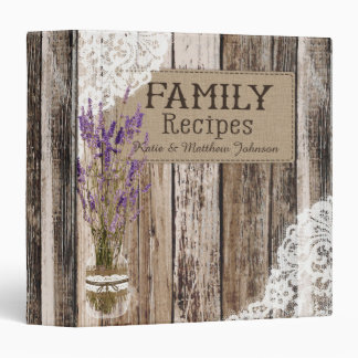 Rustic Wood Lace and Lavender Recipe Book Binder