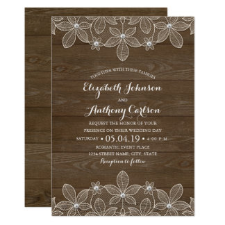 Rustic Wood Lace and Pearls Wedding Card