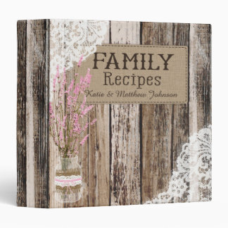 Rustic Wood Lace and Pink Lavender Recipe Book Binder