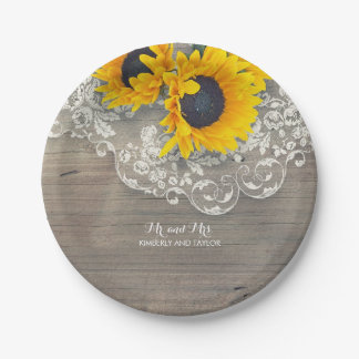 Rustic Wood Lace and Sunflowers Wedding Paper Plate