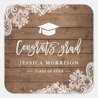 Rustic Wood Lace Congrats Grad Graduation Favor Square Sticker