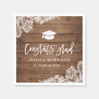 Rustic Wood Lace Congrats Grad Graduation Party Paper Napkins
