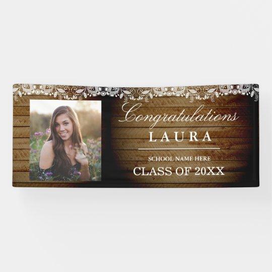 Rustic Wood Lace Congrats Graduation Photo Banner