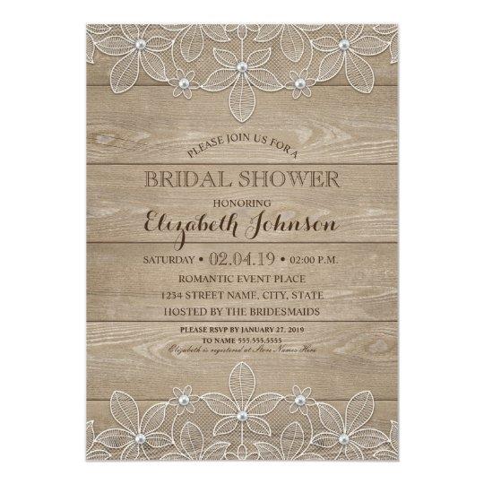 Rustic Wood Lace Elegant Vintage Bridal Shower Card