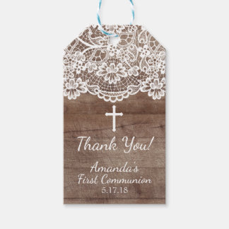 Rustic Wood Lace First Communion Gift Tag