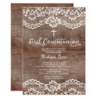 Rustic Wood Lace First Holy Communion Invitation