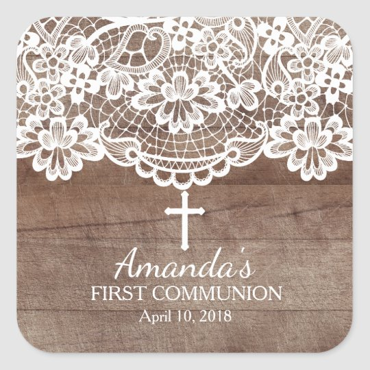 Rustic Wood Lace First Holy Communion Sticker