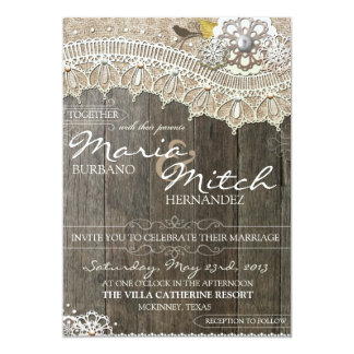 "Rustic Wood & Lace Floral Wedding Invitation 5"" X 7"" Invitation Card"