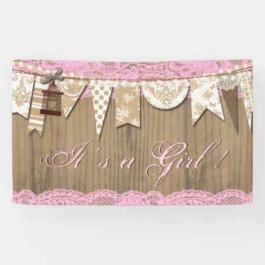 Rustic Wood Lace Girl Baby Shower Banner