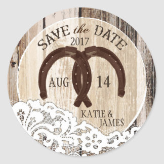Rustic Wood Lace Horseshoe Country Save the Date Round Sticker